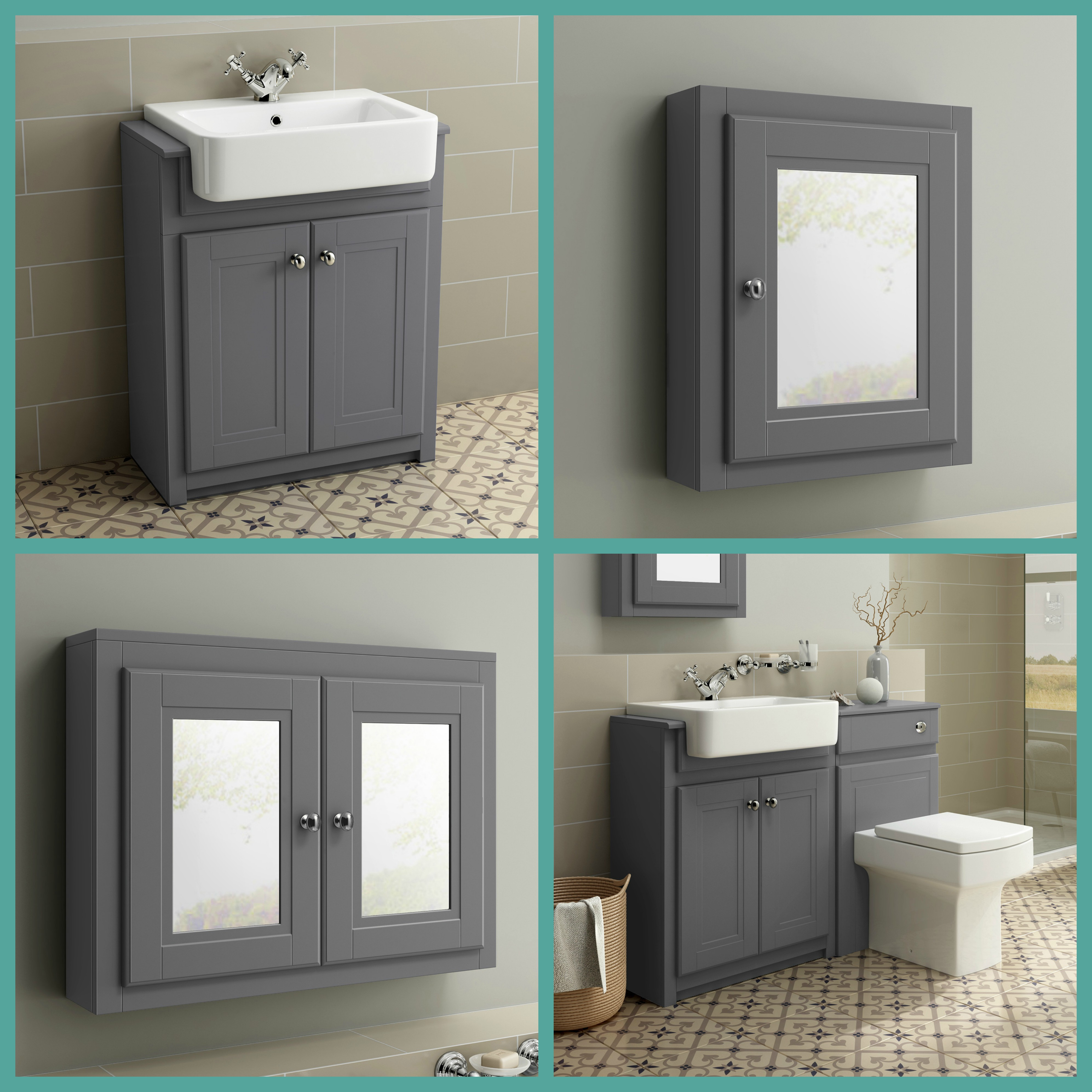 Traditional Grey Mirror Storage Vanity Units With Basin Toilet regarding sizing 3988 X 3988