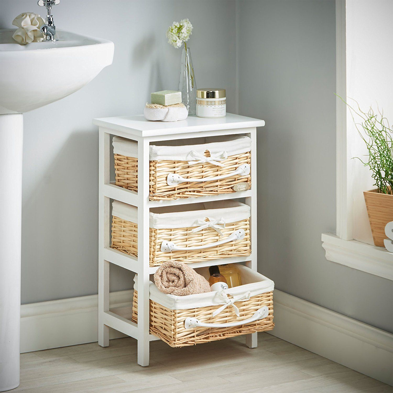 Vonhaus 3 Wicker Basket Storage Bathroom Cabinet Drawers Unit intended for proportions 1500 X 1500