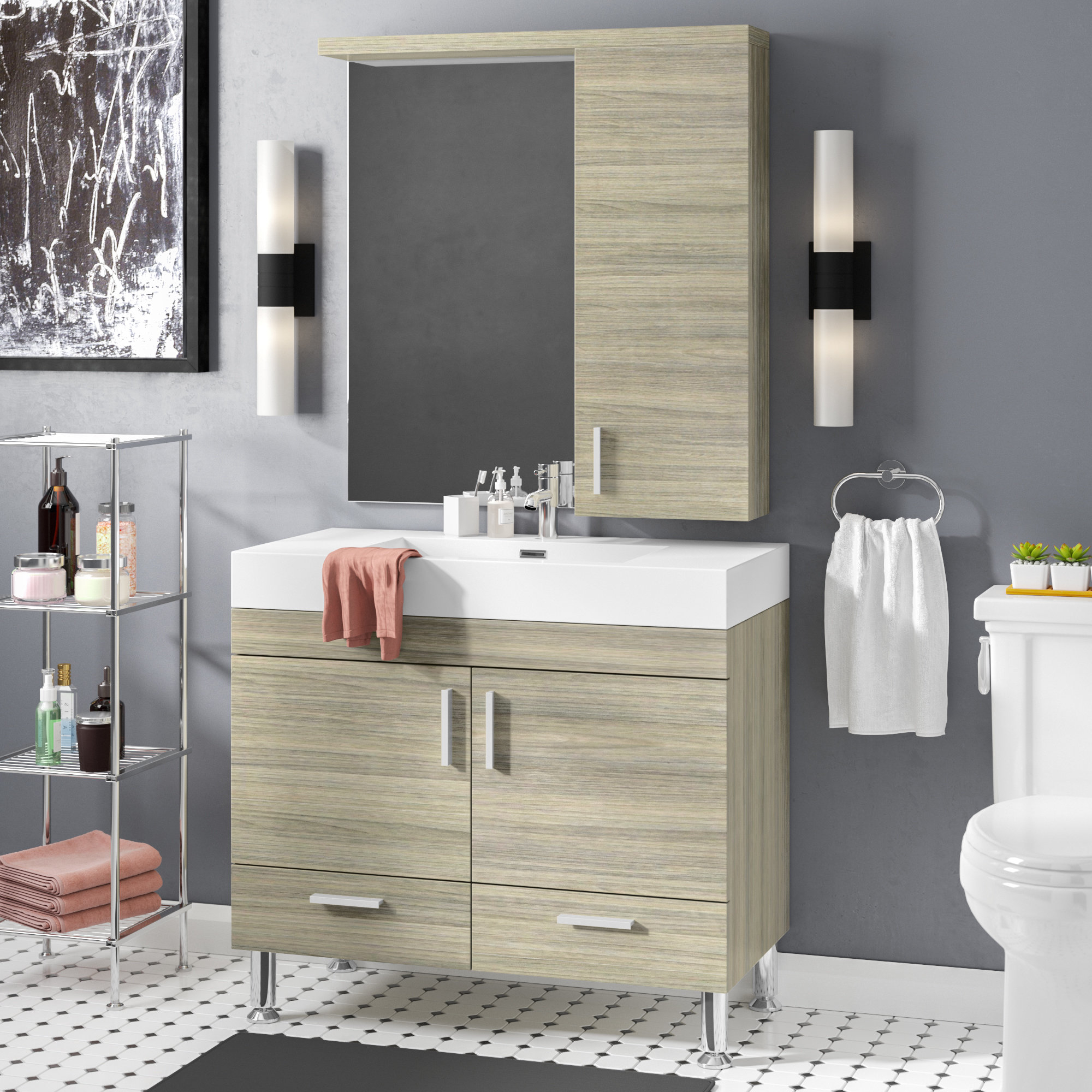 Wade Logan Waldwick 36 Single Modern Bathroom Vanity Set With for dimensions 2000 X 2000