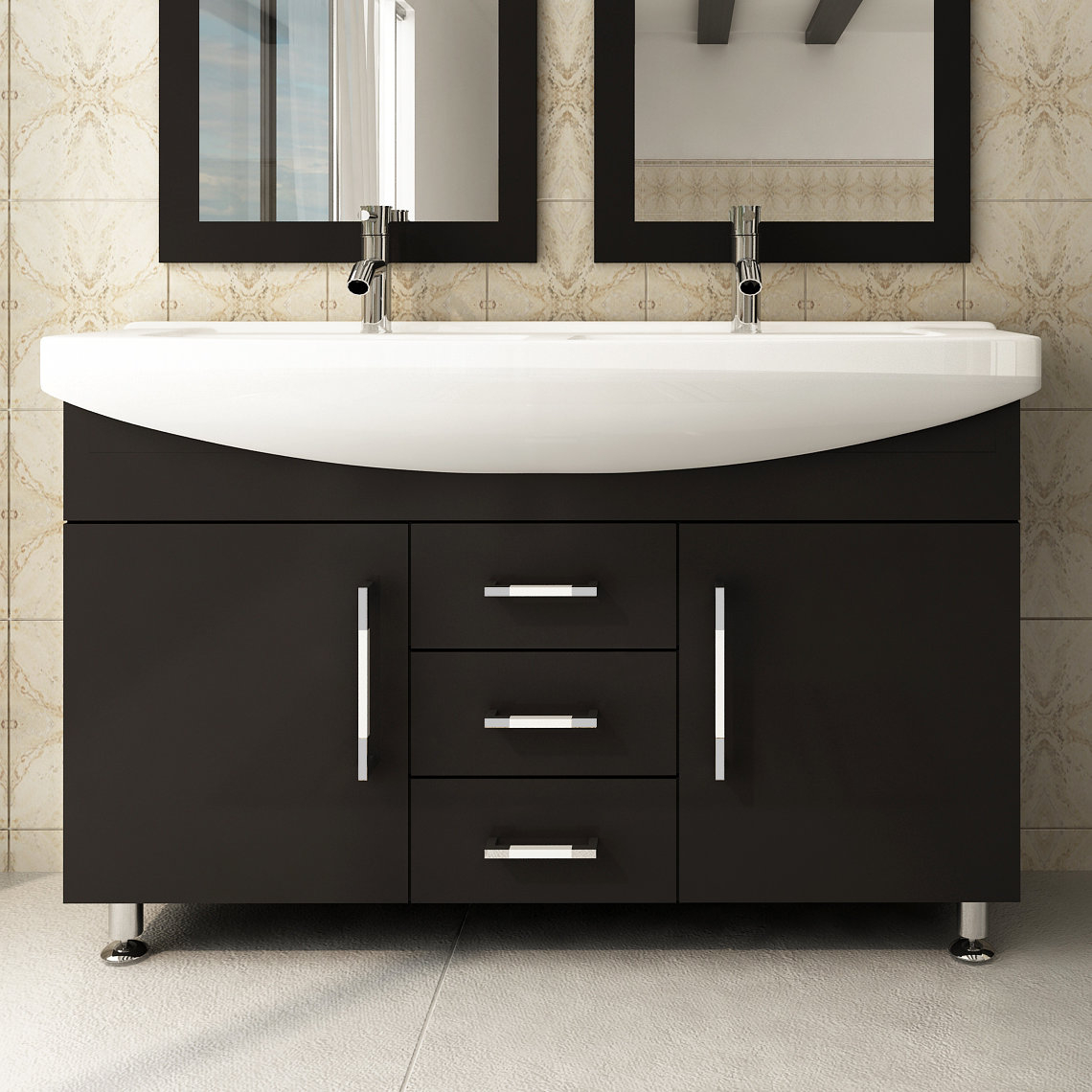 Wayfair Jwh Living Celine 48 Double Bathroom Vanity with regard to measurements 1140 X 1140