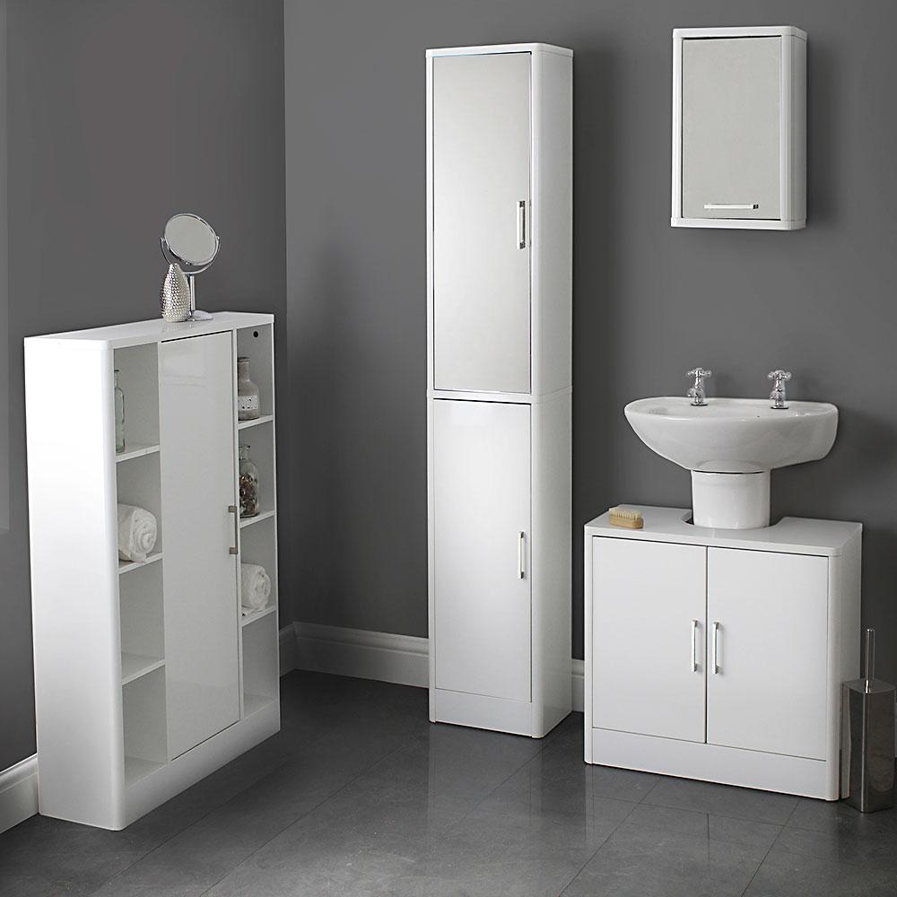 White Gloss Bathroom Range Storage Furniture House Homestyle in size 1000 X 1000