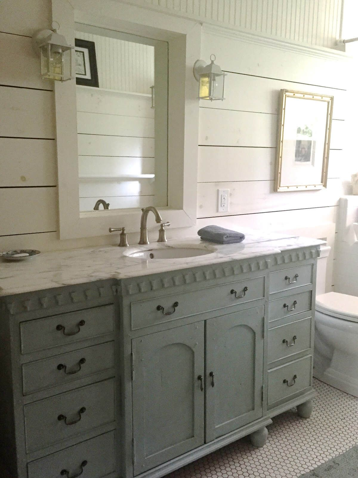 Wide Painted Vanity With Window Framed Mirror Home Decor Cottage within size 1200 X 1600
