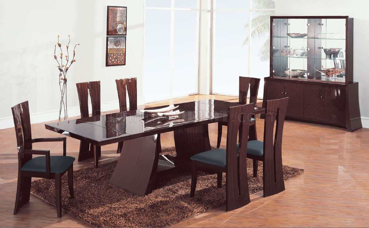 Brown Zebrano High Gloss Finish Contemporary Dining Room within size 1200 X 742