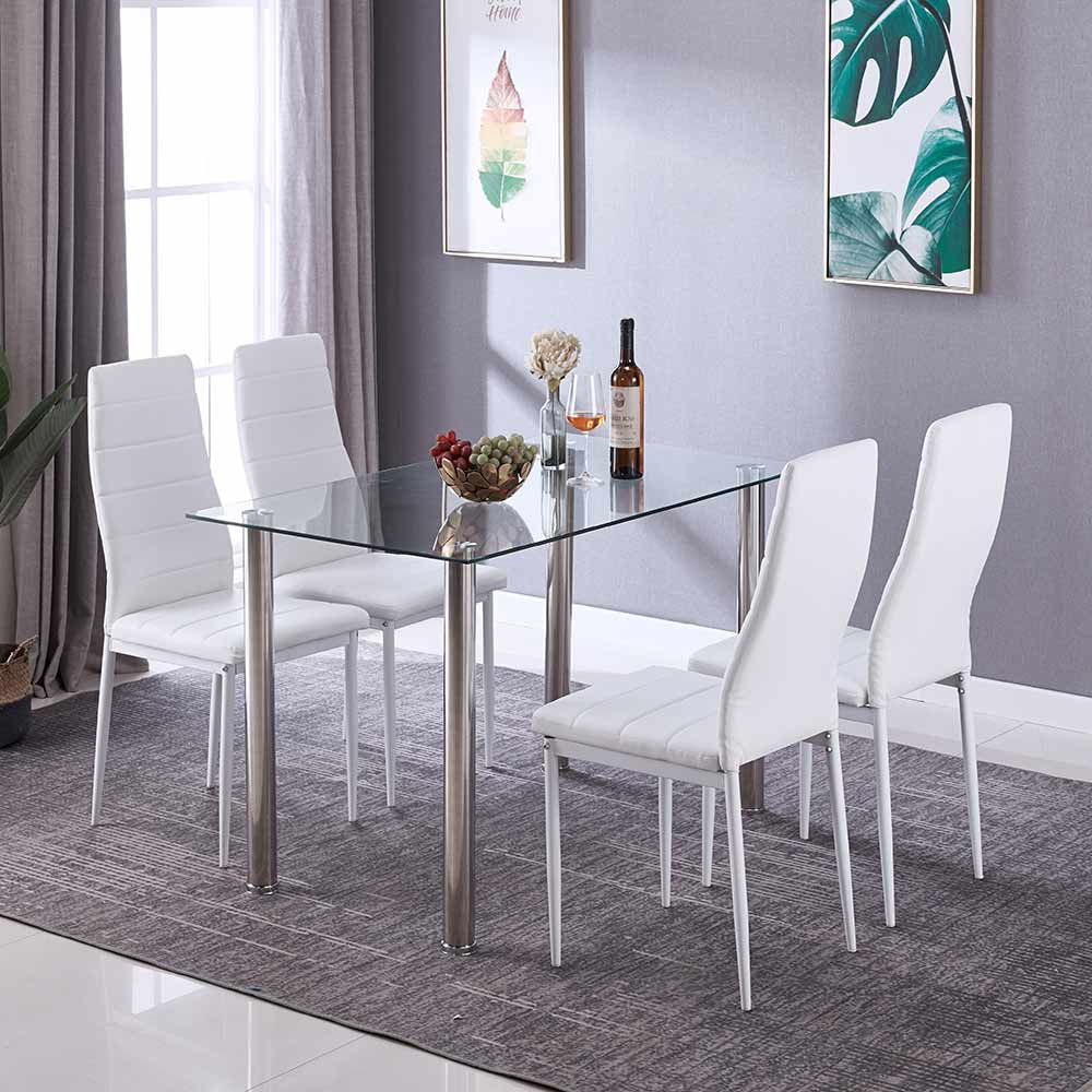 Details About Glass Rectangle Dining Table Set With 4 Leather White Chairs Seats Home Kitchen pertaining to measurements 1000 X 1000