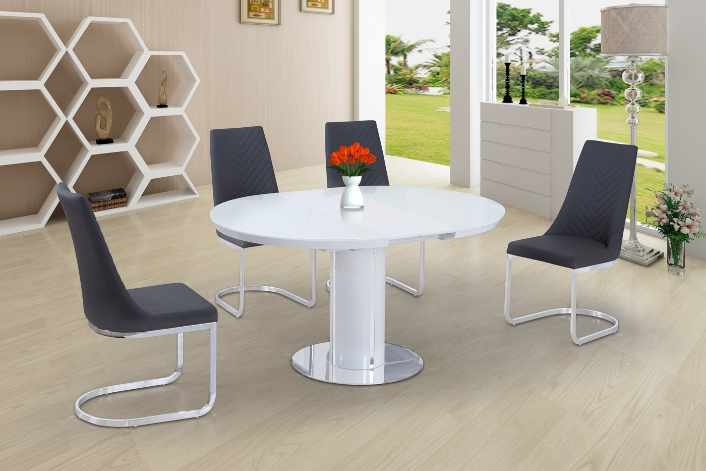 Details About Round White Glass High Gloss Dining Table And 4 Grey Chairs Set pertaining to dimensions 1400 X 933