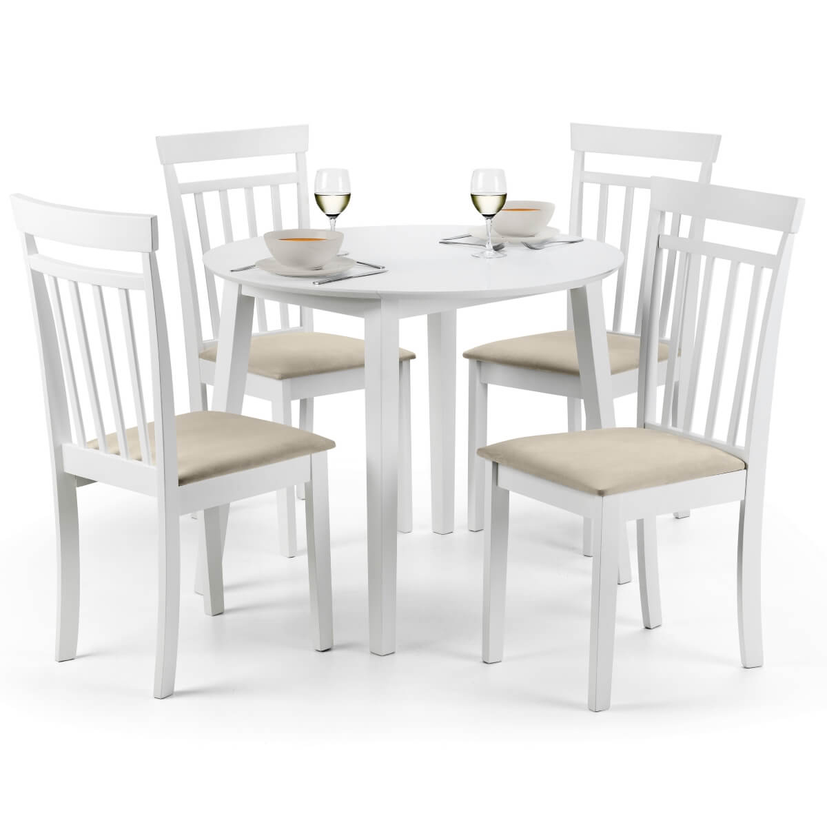 Dining Set Coast Dining Table And 4 Dining Chairs In White Coa005 within sizing 1200 X 1200