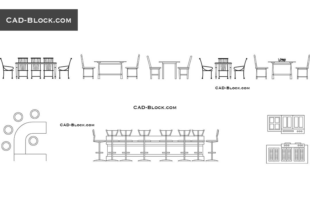 Dining Table Set Elevation Cad Block • Faucet Ideas Site