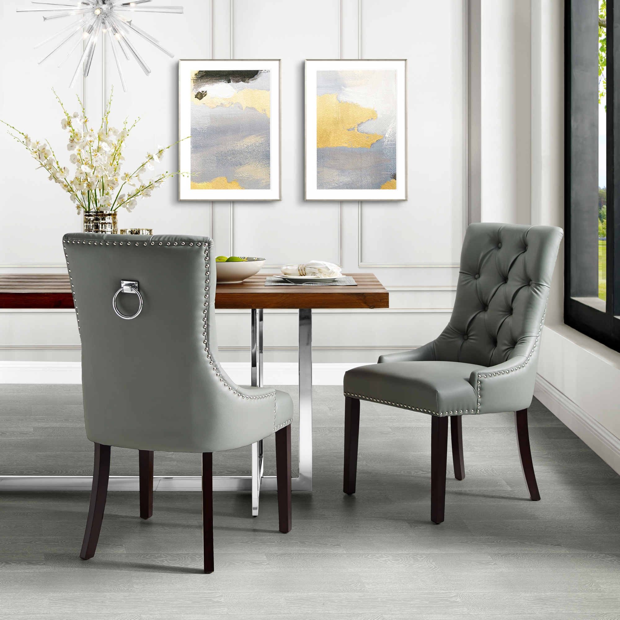 Faith Light Grey Leather Pu Dining Chair Set Of 2 Tufted Ring Handle Chrome Nailhead Finish Walmart with regard to dimensions 2000 X 2000