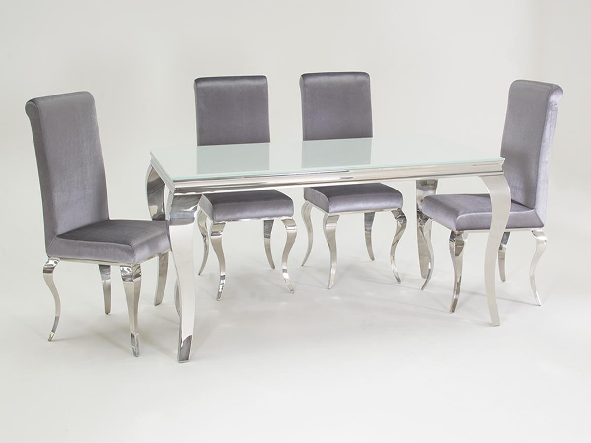 Louis Dining Set White 4 Chairs in measurements 1200 X 900