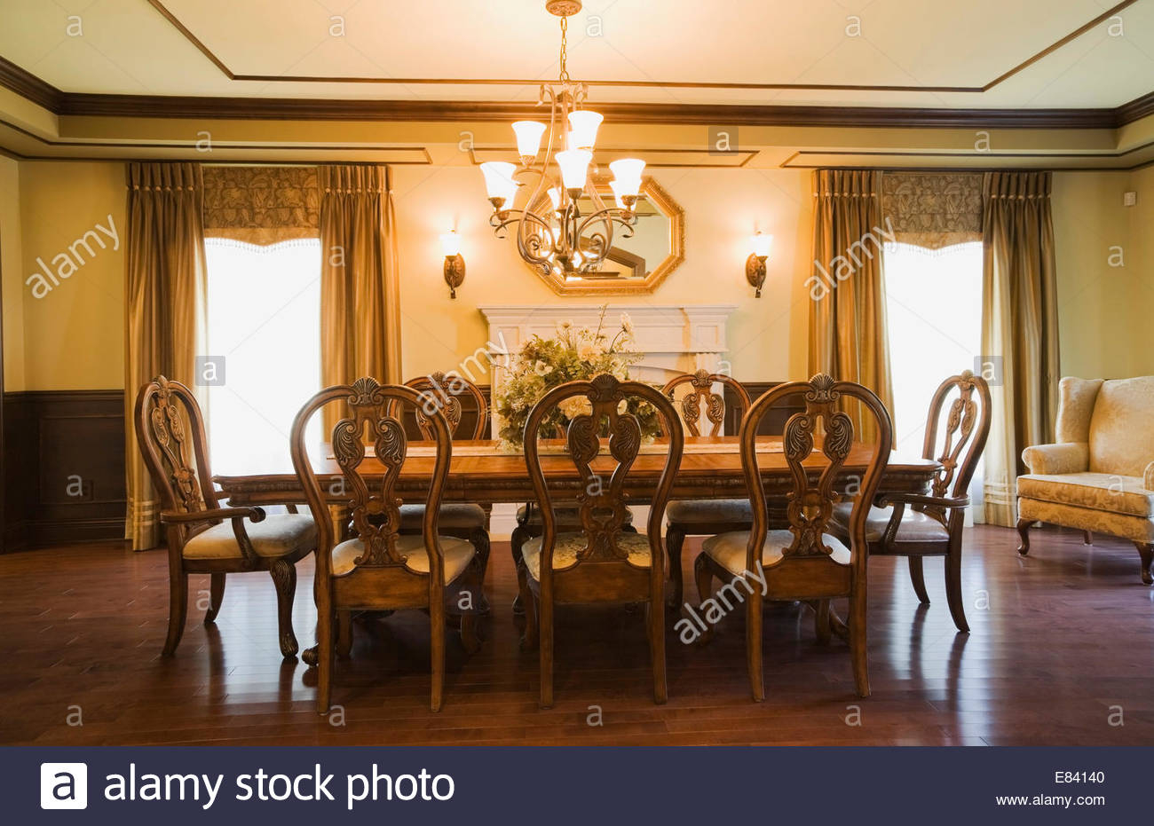 Luxurious Dining Room With A Wooden Table And Chairs Quebec pertaining to dimensions 1300 X 931