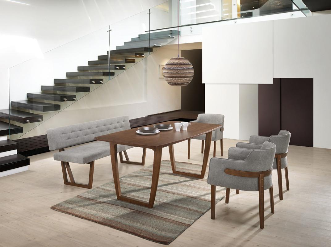 Modrest Jordan Modern Walnut Grey Dining Set pertaining to proportions 1072 X 800
