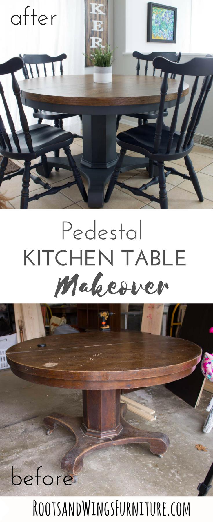 Pedestal Kitchen Table Makeover Dining Table Makeover regarding measurements 735 X 1800