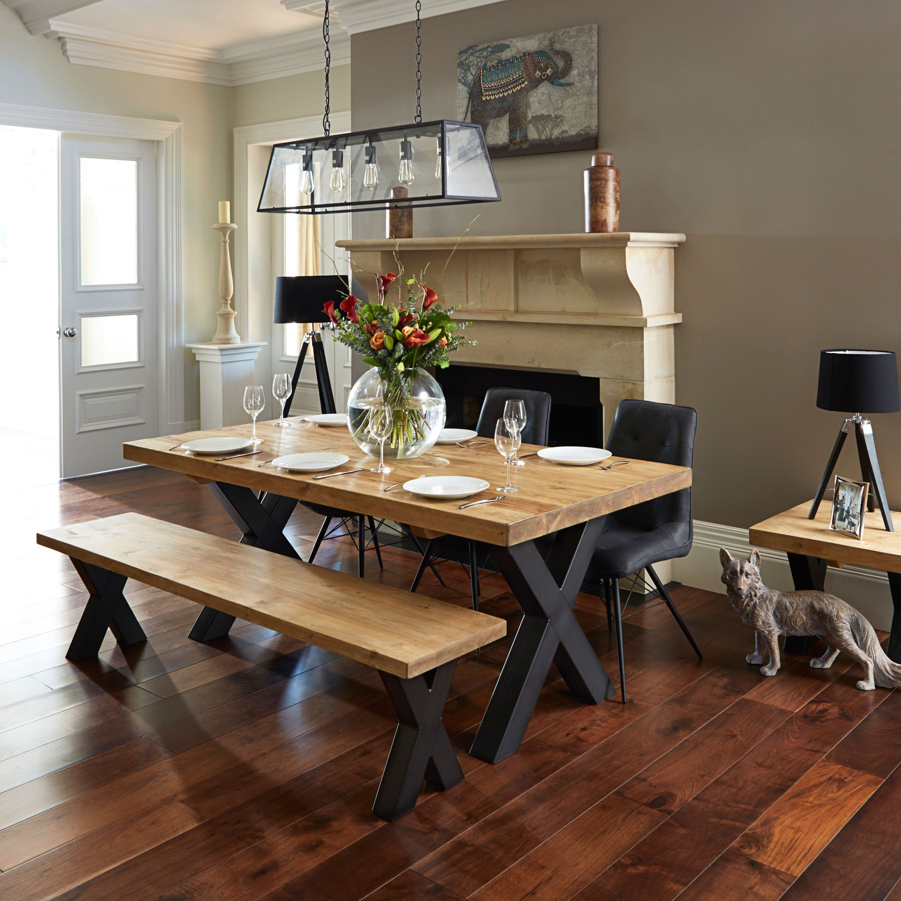 Ragana Reclaimed Timber Dining Table With Bench 3 Dining Chairs in measurements 1800 X 1800