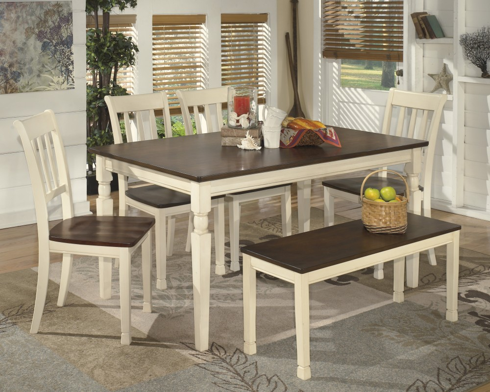 Whitesburg Rectangular Dining Room Table 4 Side Chairs And Bench inside dimensions 1000 X 800